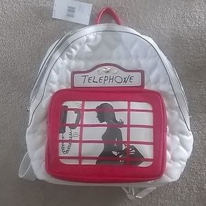 Betsey Johnson quilted London phone booth backpack